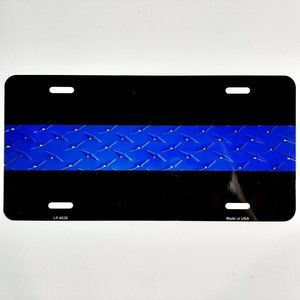 Police Support Thin Blue Line License Tag Plate Di
